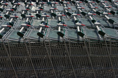 Shopping carts. View of stacked shopping carts Stock Images