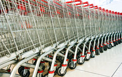 Shopping carts. A line of shopping carts nested together Royalty Free Stock Photography