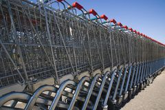 Shopping carts 2. Shopping carts in a row Royalty Free Stock Image