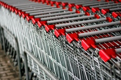 Shopping carts. Shopping cart stack in front of supermarket Stock Photography