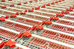 Shopping Carts. Stack Of Empty Shopping Carts Stock Photo