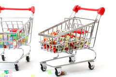 Shopping Carts. Concept of a Full Range of Products Royalty Free Stock Photo