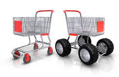 Shopping carts. Competition over white background Royalty Free Stock Photos