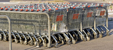 Shopping carts. Waiting for buyers Stock Photos
