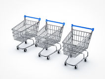 Shopping carts. On white backgrounds Stock Photos