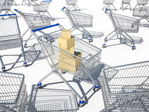 Shopping carts 3d cg Stock Photography