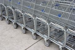 Shopping Carts #4. A line of shopping carts nested together royalty free stock images