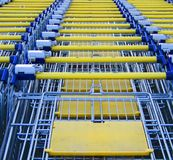 Shopping carts. In a row Stock Photo