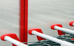 Shopping carts. Detail, red and white Royalty Free Stock Photos