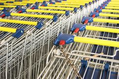Shopping carts. In the rows Royalty Free Stock Image