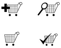 Shopping Carts. A Set of shopping carts with options like search , add, checkout and blank Stock Photos