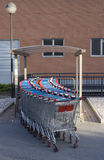 Shopping Carts. A row of supermarket trolleys Stock Image