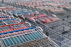 Shopping Carts. A sea of shopping carts outside a big box superstore royalty free stock image