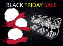 Shopping Carts and Banners on Black Friday Backgro Stock Images