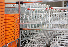 Shopping carts and baskets Stock Photo