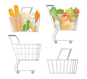 Shopping carts and baskets. Full of food or empty set. Cartoon retail store object vector illustration isolated on white background. Fresh vegetables, bread and Stock Image