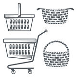 Shopping carts and baskets. Monochrome collection of shopping carts and baskets Royalty Free Stock Photo