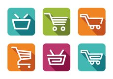 Shopping carts and baskets Royalty Free Stock Image