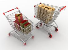 Shopping carts with boxes and dollars Royalty Free Stock Images