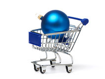 Shopping carts and Christmas blue balls Royalty Free Stock Photo