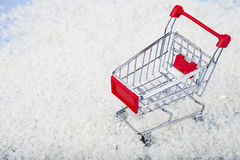 Shopping carts and Christmas decorations in the snow. Concept of Royalty Free Stock Image
