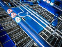 Shopping carts. Shopping carts closeup on handle Stock Images
