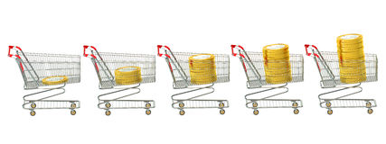 Shopping carts with coins Stock Images