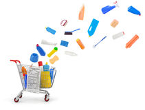 Shopping carts with detergents. And cleaning equipments Stock Photo