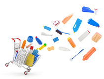 Shopping carts with detergents Stock Photo