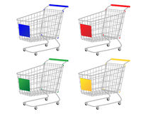 Shopping Carts in Different Colours Royalty Free Stock Photos