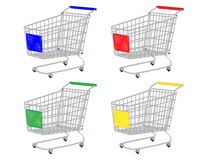 Shopping Carts in Different Colours Pencil Style Royalty Free Stock Photos