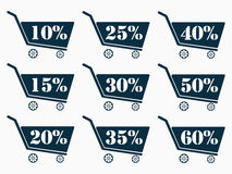 Shopping carts with a discount. Cart icon. Online shopping icon. The dark blue shopping carts. From 10 to 60 percent discount. Vector illustration Royalty Free Stock Photos