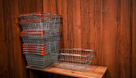 Shopping carts in the store royalty free stock photography