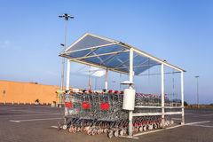 Shopping carts in front of a supermarket Stock Photography