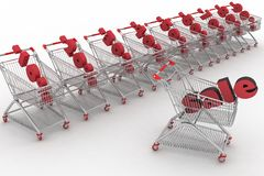 Shopping carts full of percentage sale. Stock Photos