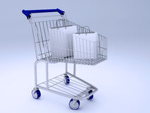 Shopping carts full of shopping bags Stock Image