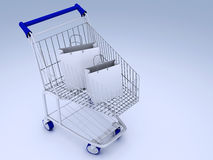 Shopping carts full of shopping bags Stock Photo