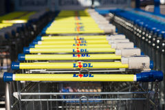 Shopping carts of the german supermarket chain, LIDL Stock Images