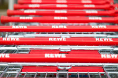 Shopping carts of the german supermarket chain, Rewe Stock Image