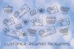 Shopping carts, gift cards, free vouchers: customer reward progr Stock Photos