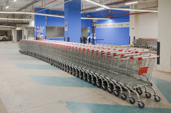 Shopping Carts in Grocery. Shopping Carts in Hyperstar Emporium Mall, Lahore, Pakistan Royalty Free Stock Photos