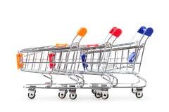 Shopping carts isolated on white background. Royalty Free Stock Images