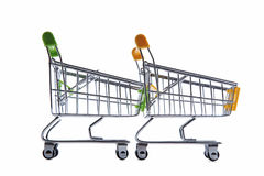 Shopping carts. Isolated on a white background Stock Photos