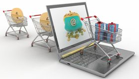 Shopping carts and laptop Stock Photography