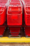 Shopping carts lined up. Many shopping carts lined up, waiting for customers Royalty Free Stock Photo