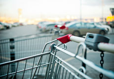 Shopping carts near the shopping mall. Parking outddors Royalty Free Stock Photos