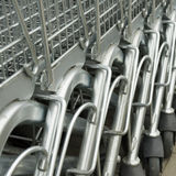 Shopping carts. Nested shopping carts at a supermarket´s parking lot Royalty Free Stock Photography