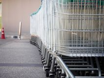 Shopping carts. On parking lot Royalty Free Stock Photo