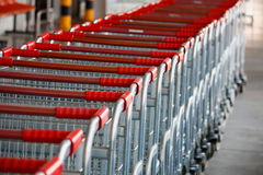 Shopping carts on parking lot Royalty Free Stock Photo