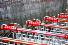 Shopping carts on parking lot Stock Photo